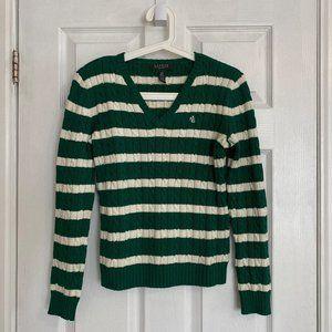 Lauren Ralph Lauren Petite Green Striped Sweater